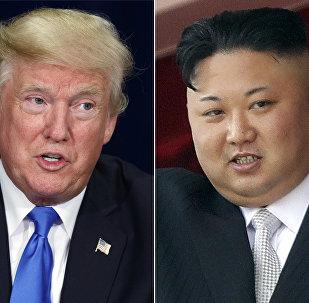 President Donald Trump, left, in Dallas and North Korean leader Kim Jong Un in Pyongyang