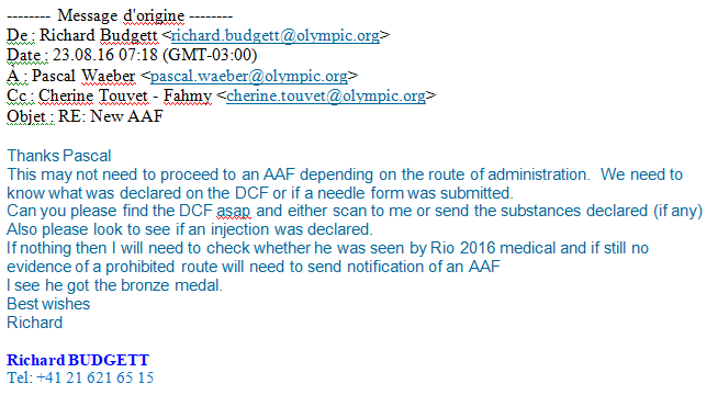 Email sent by Dr Richard Budgett, the Medical and Scientific Director of the International Olympic Committee © Sputnik