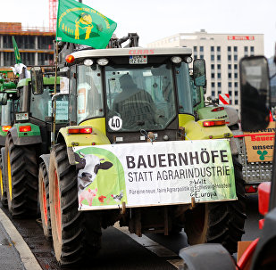 Farmers with tractors protest at the Wir haben es satt (we are fed up) demonstration for more ecological agriculture in Berlin, Germany, January 20, 2018