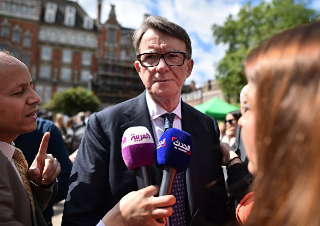 Former Labour politician Peter Mandelson reacts as he is interviewed by media near the Houses of Parliament in London on June 24, 2016 after Britain voted to leave the European Union (EU)