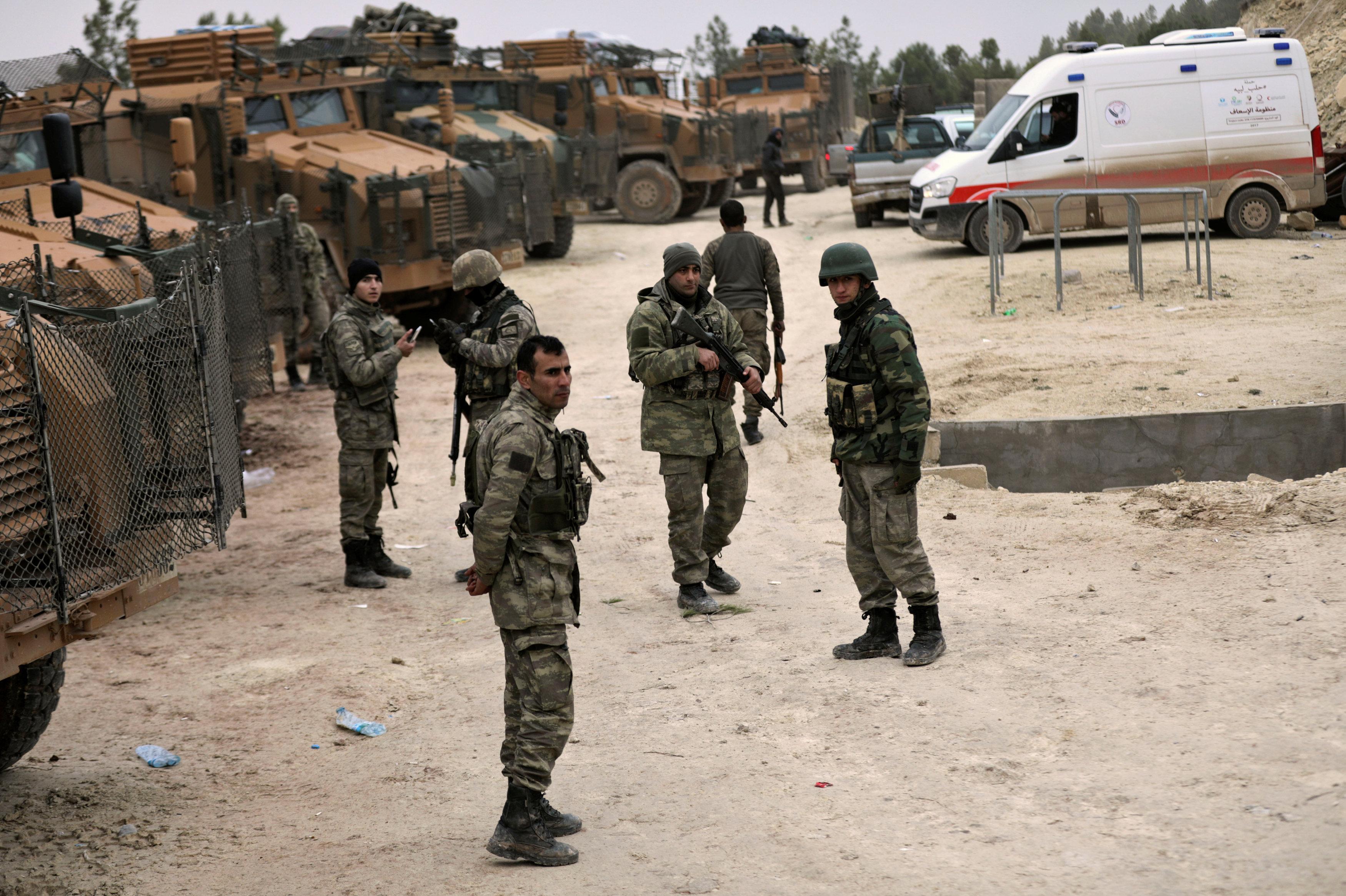 Turkish forces are seen near Mount Barsaya, northeast of Afrin, Syria January 22,2018
