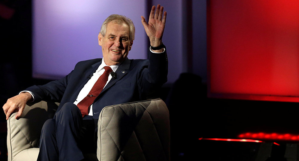 Czech presidential candidate and incumbent Milos Zeman attends a televised debate ahead of an election run-off, in Prague, Czech Republic January 23, 2018