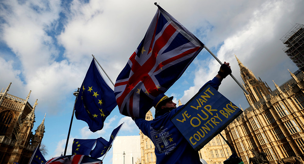 Anti-Brexit protesters demonstrate opposite the Houses of Parliament in London, Britain, January 16, 2018