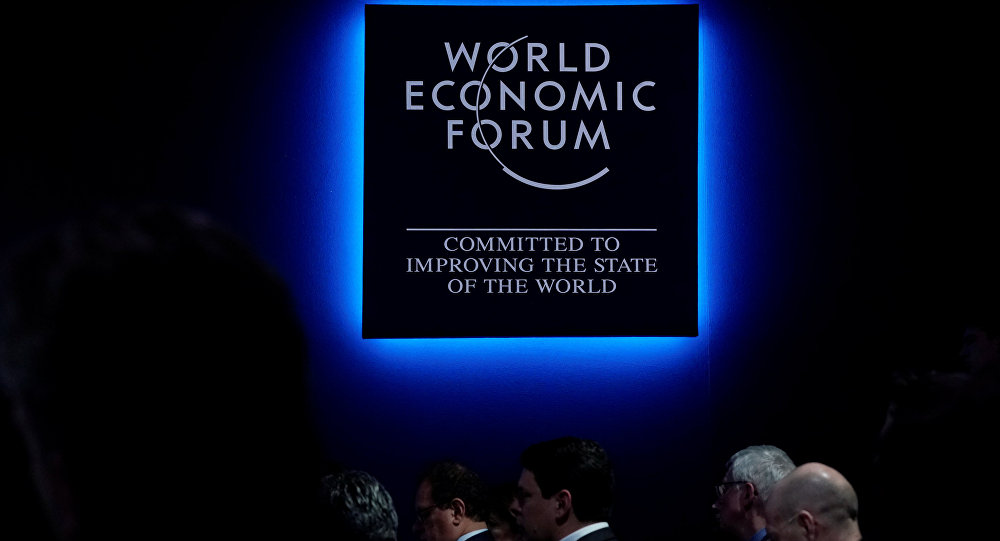A logo of the World Economic Forum (WEF) is seen as people attend WEF annual meeting in Davos, Switzerland