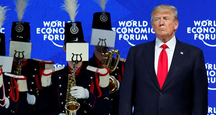 U.S. President Donald Trump is seen before his speech during the World Economic Forum (WEF) annual meeting in Davos, Switzerland January 26, 2018