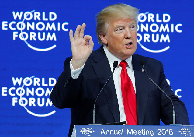 US President Donald Trump gestures as he delivers a speech during the World Economic Forum (WEF) annual meeting in Davos, Switzerland January 26, 2018