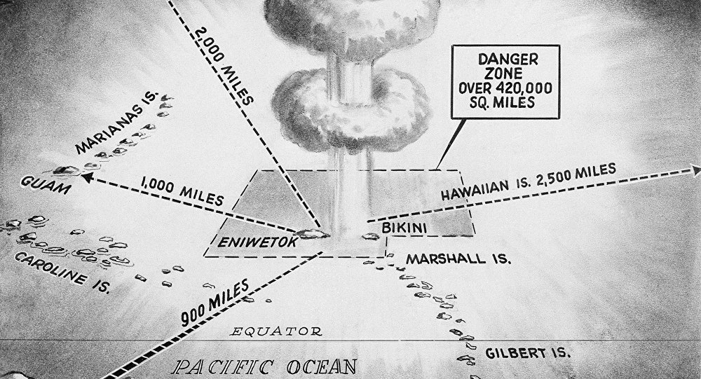 This April 27, 1956, file photo shows the area in which the United States hydrogen bomb tests will take place in the Pacific Ocean. North Korea said it successfully detonated a hydrogen bomb in its latest nuclear test Sunday, Sept. 3, 2017. Outside experts haven't been able to verify that claim, but say it's plausible. If true, it would represent a major step forward in North Korea's effort to develop a nuclear weapon capable of reaching the United States.
