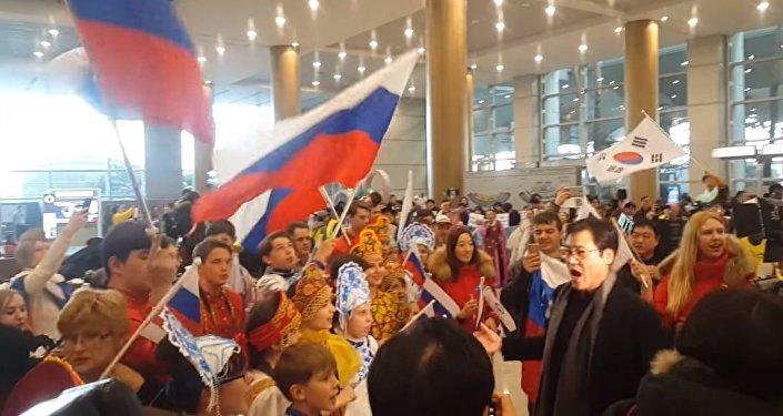 Встреча хоккейной сборной России в Пхенчхане