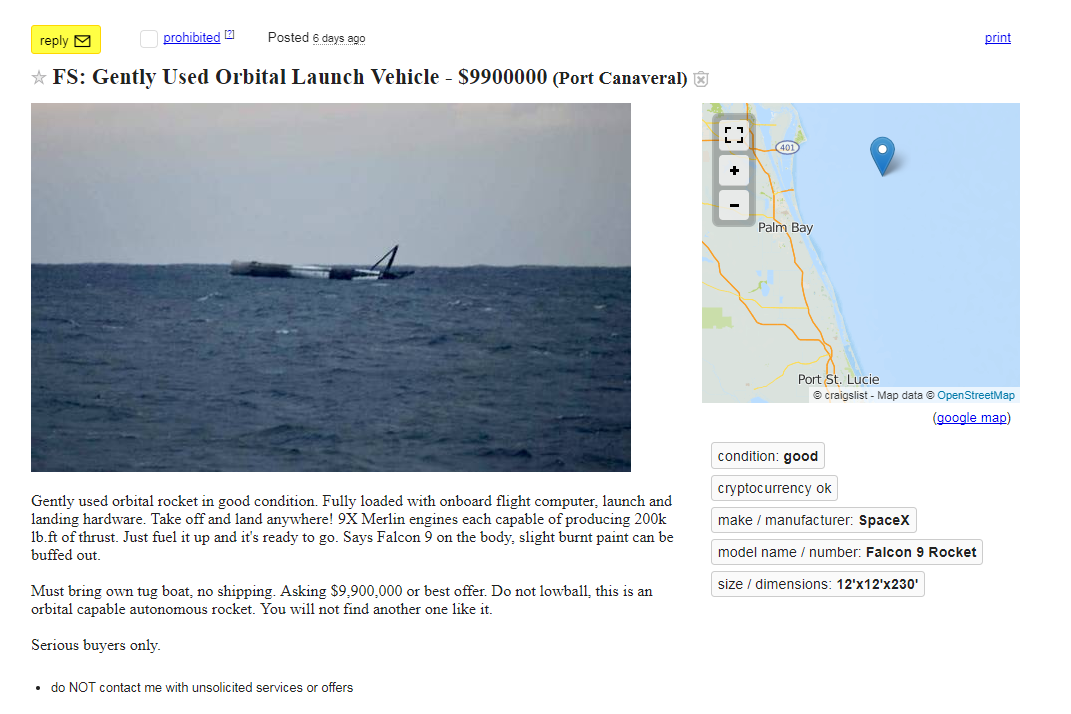 Craigslist seller offers up 'gently used orbital launch vehicle' for $9.9 million