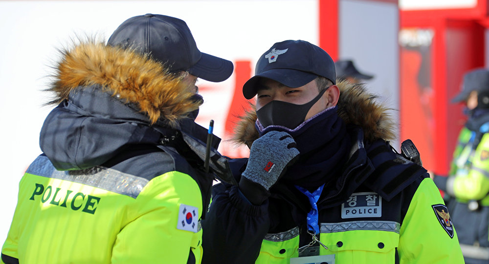 South Korean police officers