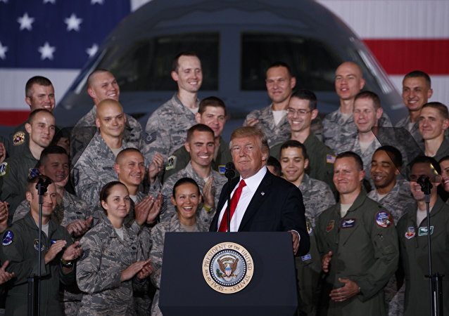 President Donald Trump speaks to military personnel and their families at Andrews Air Force Base, Friday, Sept. 15, 2017, in Andrews Air Force Base, Md.