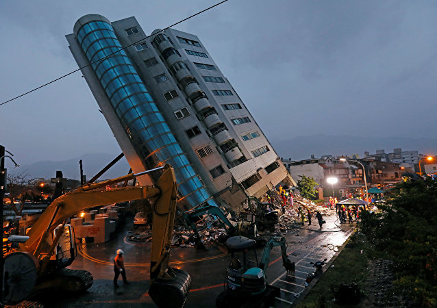 A damaged residential building is seen after an earthquake hit Hualien, Taiwan February 7, 2018