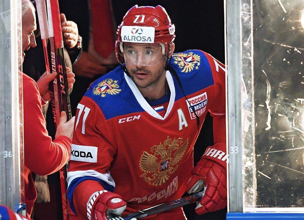 Team Russia's Ilya Kovalchuk before the friendly hockey match between Team Russia and Spartak