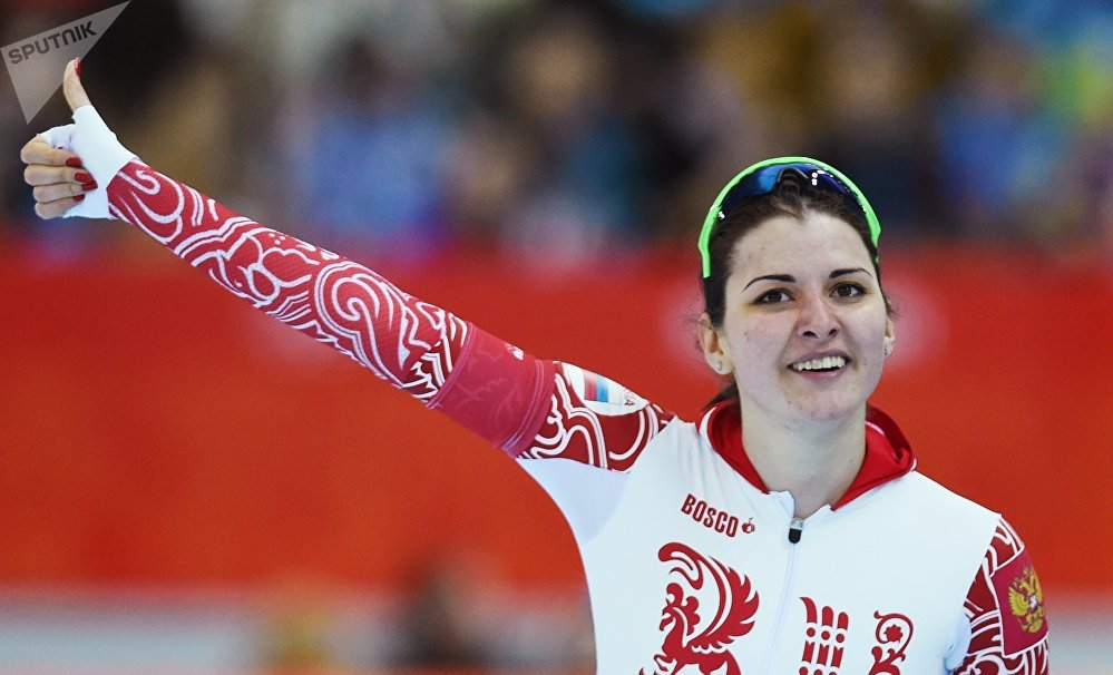 Angelina Golikova (Russia) after the women's 500m in speed skating at the XXII Olympic Winter Games in Sochi. (File)