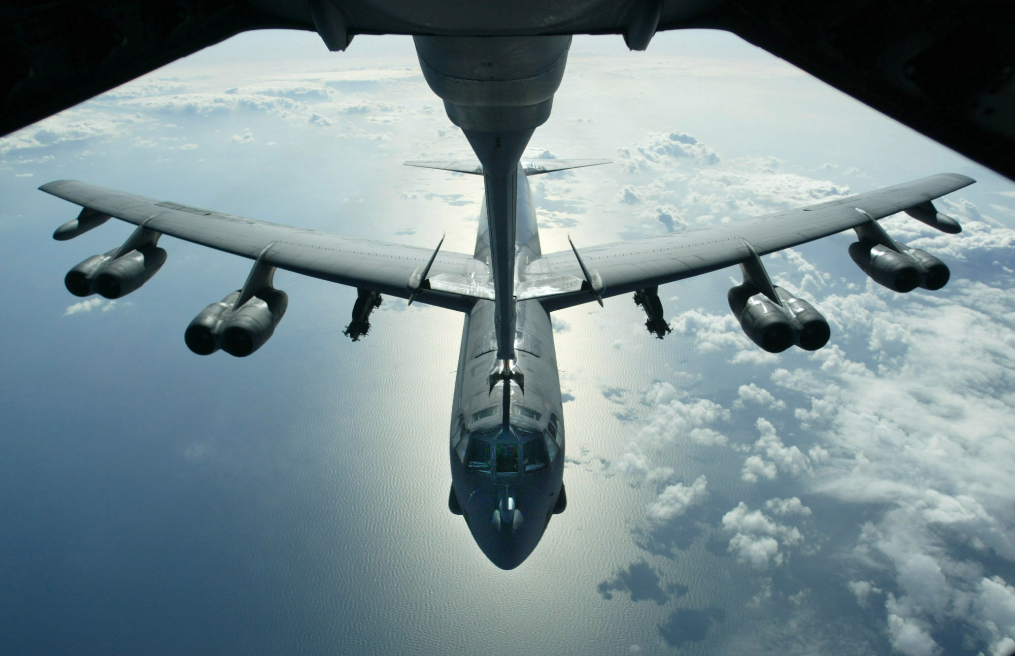 A US Air Force B-52 bomber returning from a mission over Iraq is refueling from a KC-10 plane over the Black Sea, in this Friday, March 28, 2003 photo
