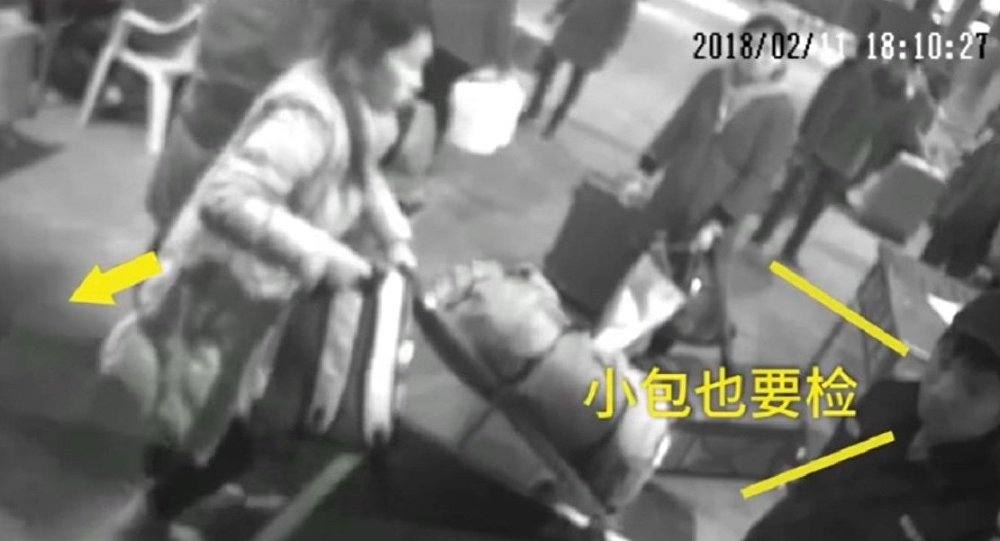 "A woman in SE China climbed into a security inspection machine to ""escort"" her purse"