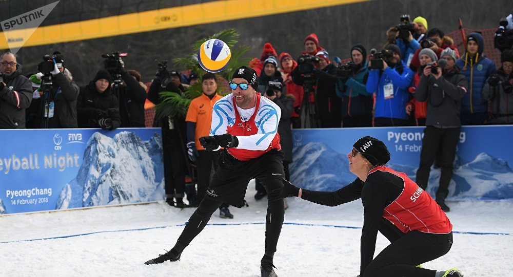 2018 Winter Olympics. Snow volleyball at Austria House