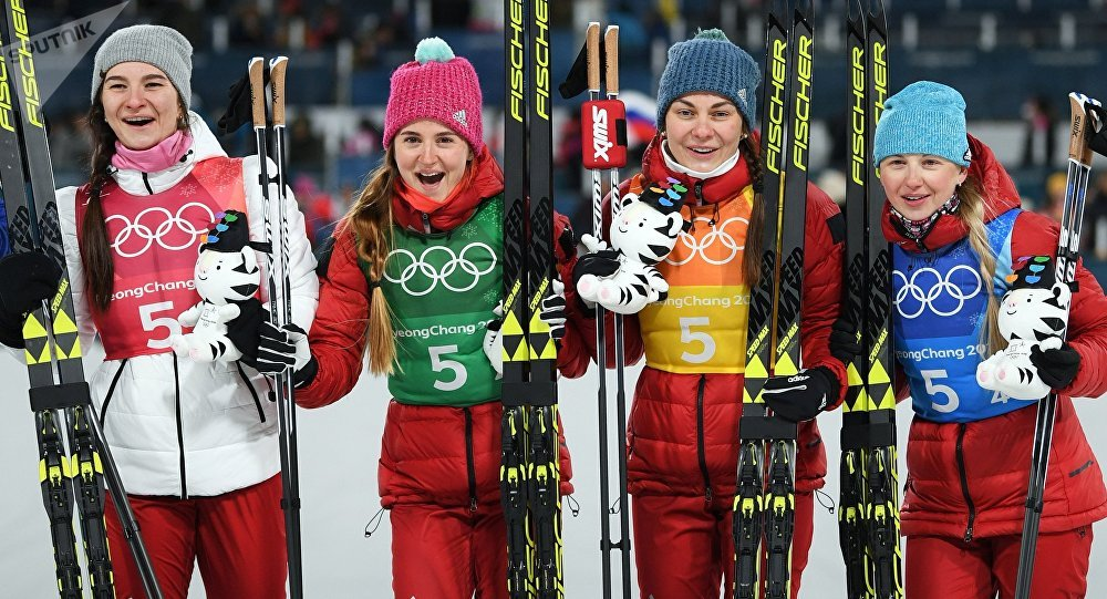 Bronze medalists of the 4X5 km relay in women's cross-country skiing at the XXIII Olympic Winter Games in Pyeongchang. From left: Olympic Athletes from Russia Natalya Nepryayeva, Yulia Belorukova, Anastasia Sedova and Anna Nechayevskaya