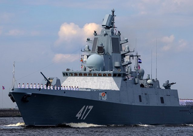 The Admiral Gorshkov frigate during the final rehearsal of the naval parade to celebrate Russian Navy Day in Kronstadt
