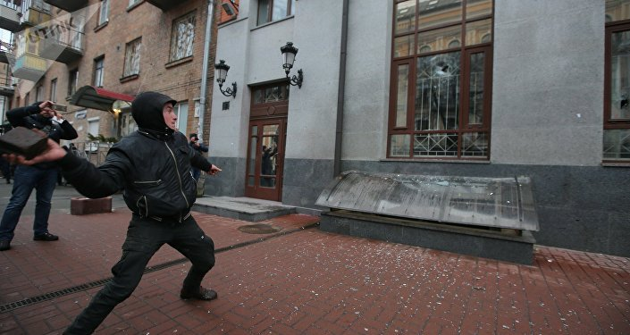 Radicals smash Rossotrudnichestvo office in Kiev