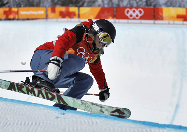 Elizabeth Marian Swaney, of Hungary, runs the course during women's halfpipe qualifying at Phoenix Snow Park at the 2018 Winter Olympics in Pyeongchang, South Korea, Monday, Feb. 19, 2018.