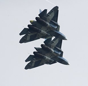 Russian Su-57 fifth-generation fighter jets at the International Aviation and Space Salon MAKS-2017