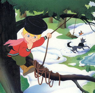 Front page of children's book Petya and the Wolf. Moscow. Timoshka Publishers. 2003
