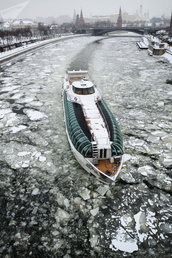 The Radisson ship on the Moscow River.