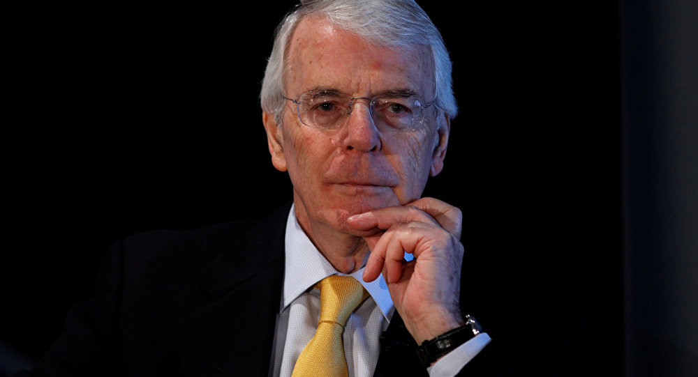 Britain's former Prime Minister John Major gives a speech on Brexit in London