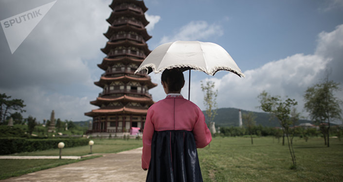 A girl in a historical park on the outskirts of Pyongyang. (File)