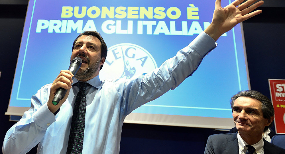 Northern League party leader Matteo Salvini speaks during the finally rally ahead of the March 4 elections in Milan, Italy, March 2, 2018