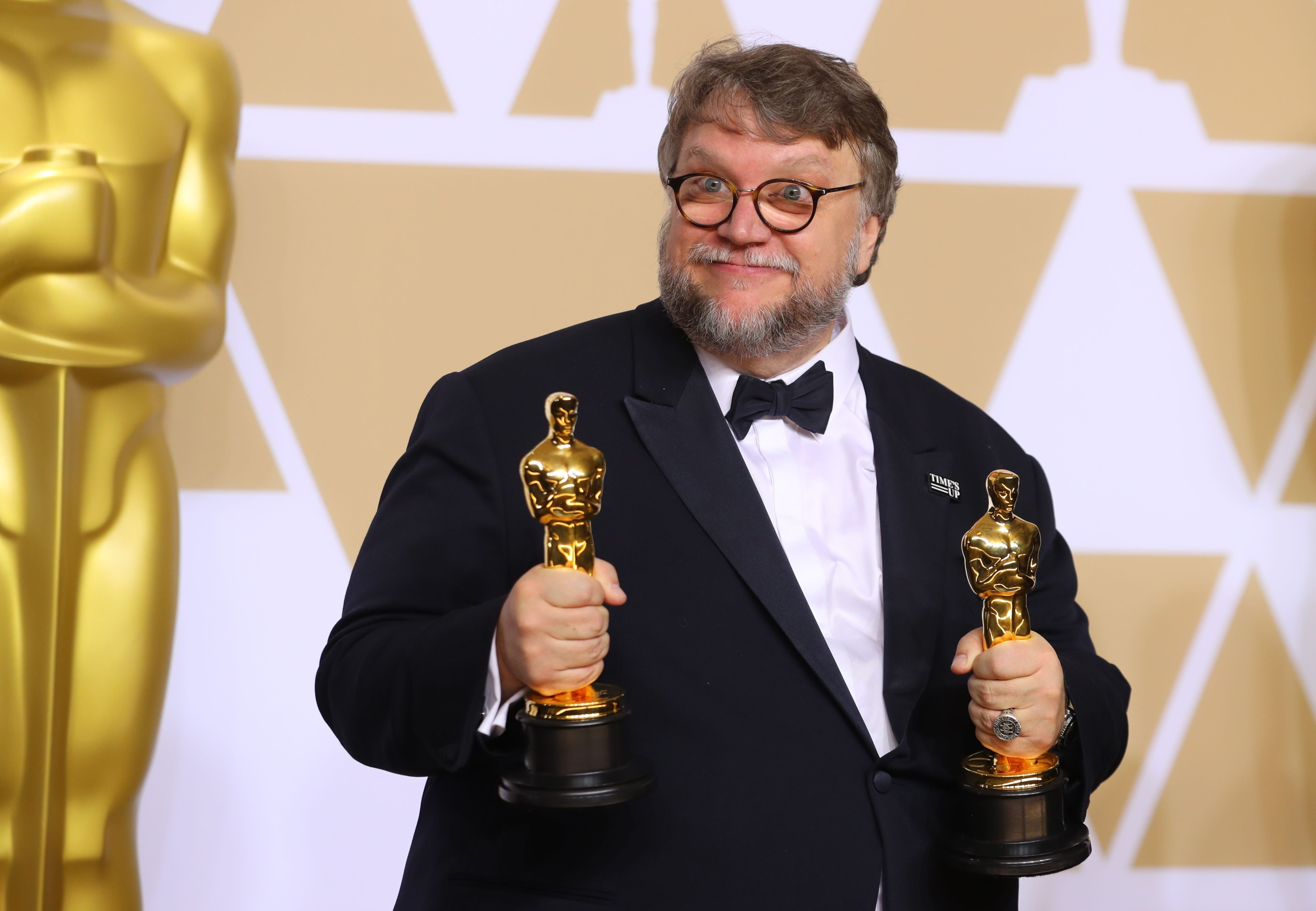 90th Academy Awards - Oscars Backstage - Hollywood, California, U.S., 04/03/2018 – Guillermo del Toro after winning Best Picture and Best Director awards for The Shape of Water.