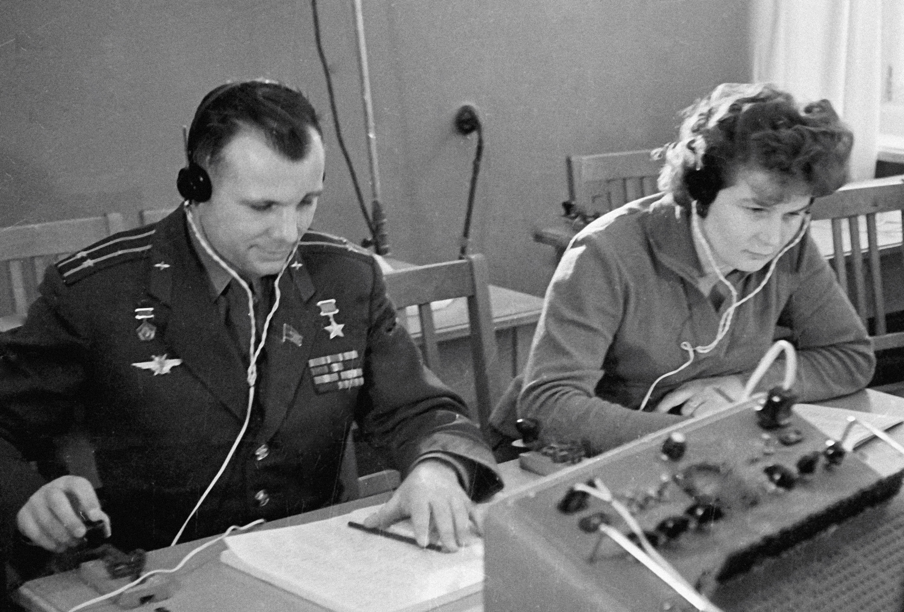 Yuri Gagarin and Valentina Tereshkova during radio communications training.