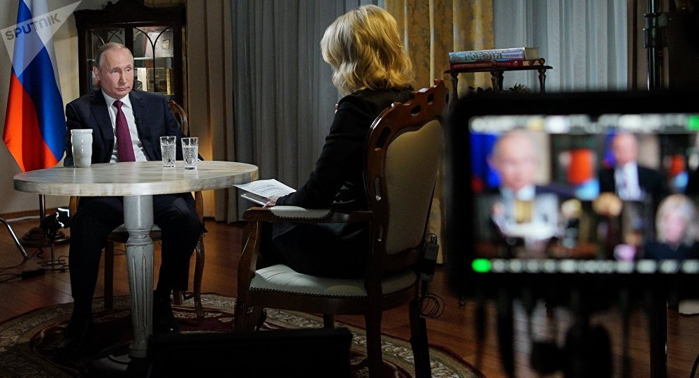 Russian President Vladimir Putin during an interview with NBC network anchor Megyn Kelly in Kaliningrad