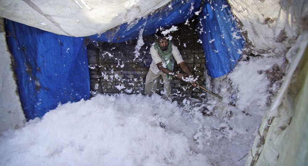 In this Feb. 18, 2014 file photo, an Indian worker processes cotton for quilts at a factory on the outskirts of Jammu, India