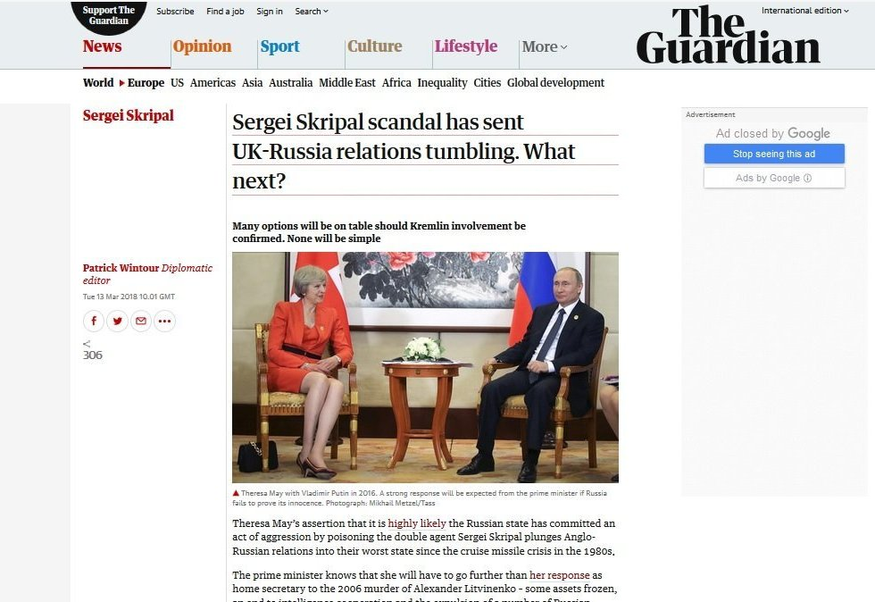 Screengrab of The Guardian's brainstorming on the impending consequences of the Skripal scandal
