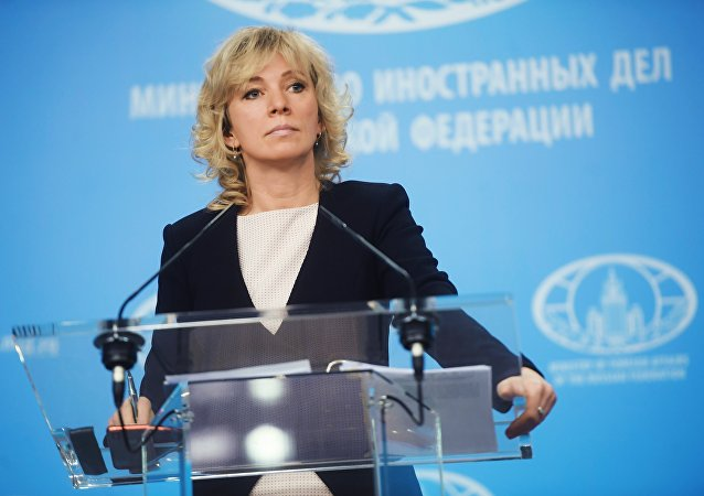 Russian Foreign Ministry Spokesperson Maria Zakharova during a briefing in Moscow