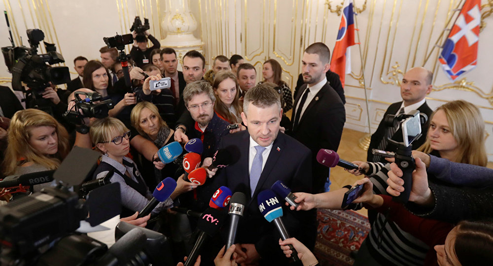 Slovak deputy Prime Minister Peter Pellegrini talks to the journalists after the meeting with President of Slovakia Andrej Kiska at the Presidential Palace in Bratislava Slovakia