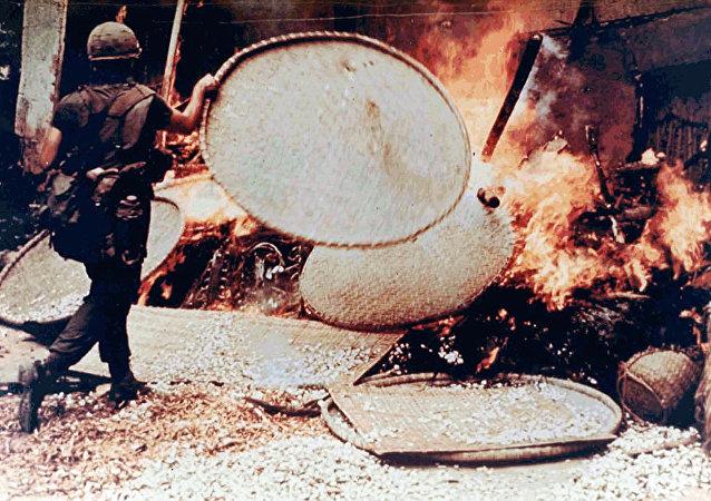 SP5 Capezza burning a Vietnamese dwelling