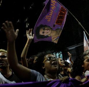Demonstrators take part in a rally against the shooting of Rio de Janeiro city councilor Marielle Franco in Rio de Janeiro, Brazil March 16, 2018