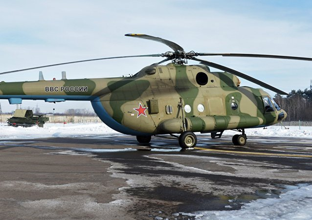 Mi-8 MTV-5-1 helicopter with the Rychag AV electronic warfare complex at the Kazan Optical-Mechanical Plant (KOMZ). File photo