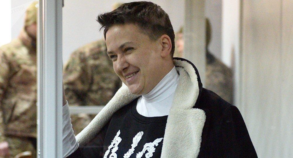 Verkhovna Rada deputy Nadezhda Savchenko, suspected of preparing terrorist attacks in central Kiev, during a hearing at the Shevchenkovsky District Court in Kiev
