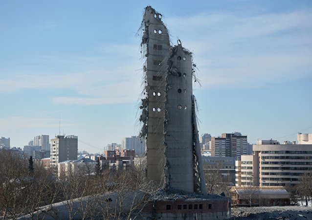 Demolition of an unfinished TV tower in Yekaterinburg. Its construction was stopped on the last year of the USSR existence