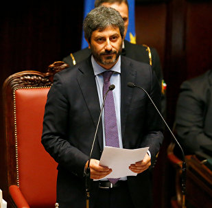 The new Chamber of Deputies president, Five Stars Movement (M5S) Roberto Fico speaks at the Chamber of Deputies during the second session day since the March 4 national election in Rome, Italy