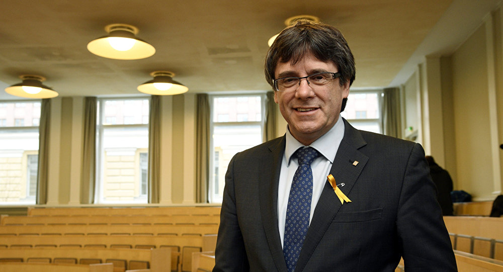 Pro-independence Catalonia's deposed leader Carles Puigdemont lectures at the University of Helsinki, Finland March 23, 2018