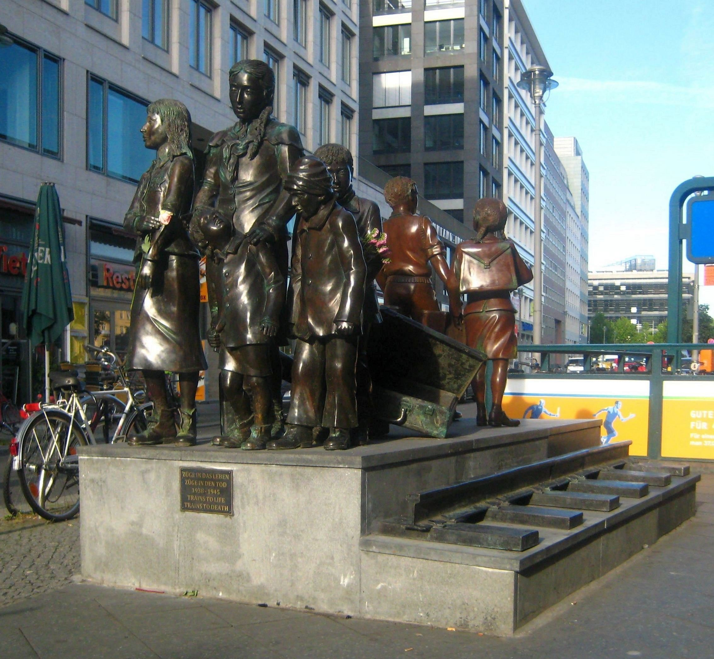 The memorial Trains to Life - Trains to death: 1938-1939 on the Dorothea-Schlegel-Platz at the Friedrichstraße Railway Station in Berlin-Mitte