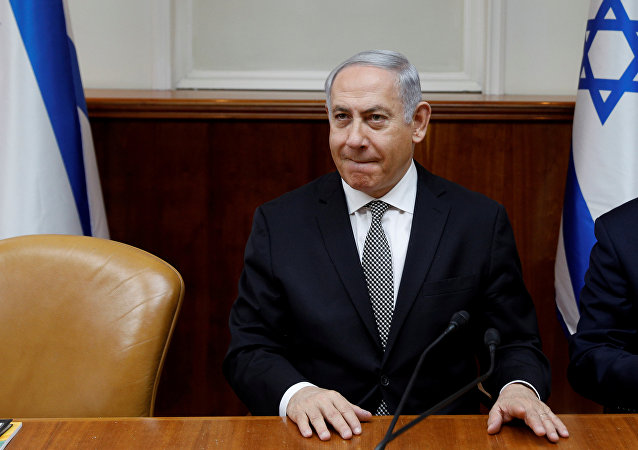 Israeli Prime Minister Benjamin Netanyahu attends the weekly cabinet meeting at the Prime Minister's office in Jerusalem February 25, 2018