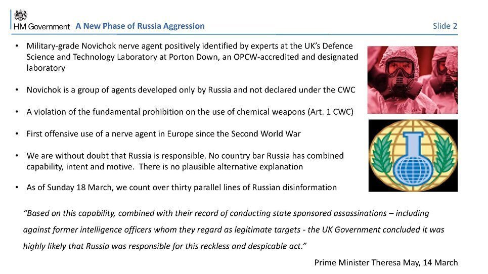 Slide 2 of the Salisbury Incident presentation, titled 'A New Phase of Russia Aggression'