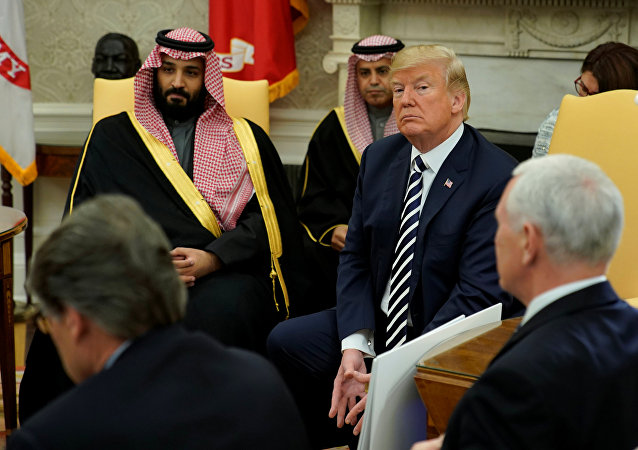 U.S. President Donald Trump welcomes Saudi Arabia's Crown Prince Mohammed bin Salman in the Oval Office at the White House in Washington, U.S. March 20, 2018