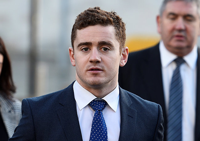 Ulster and Ireland rugby player Paddy Jackson arrives at Laganside Court in Belfast, Northern Ireland, January 29, 2018. REUTERS/Clodagh Kilcoyne/File Photo